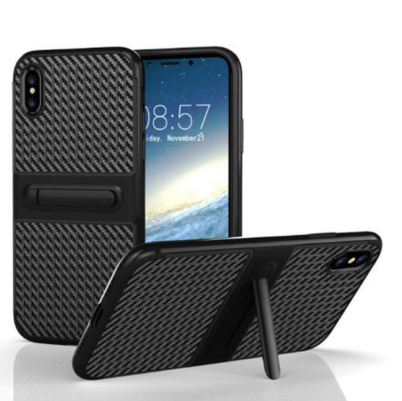 Black TPU Kickstand Case for Apple iPhone X - Hard Bumper Shockproof Cover USA