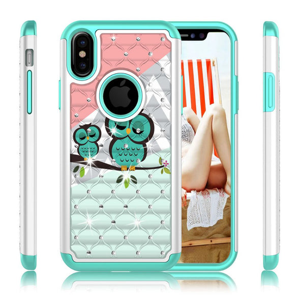 Green Owl Diamond Case for Apple iPhone X Phone - Rhinestone Bling Cover USA