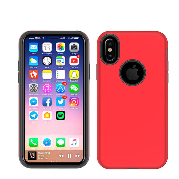 Red Hybrid Case for Apple iPhone X - Shockproof Heavy Duty Rugged Hard Cover USA