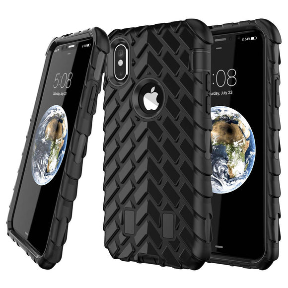 Black Heavy Duty Case for Apple iPhone X - Hard Full Body Shockproof Armor USA