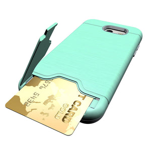 Green Card Slot Kickstand Case for Samsung Galaxy J3 Emerge / J3 2017 / J3 Prime