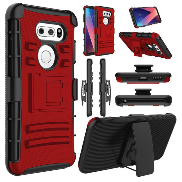 Red Kickstand & Belt Clip Case for LG V30 Phone - Ultra Heavy Duty Holster USA