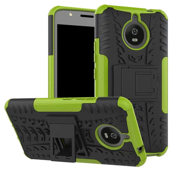 Green & Black Kickstand Case for Motorola Moto G5 Plus - Grenade Grip Hybrid USA