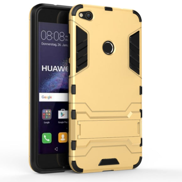 Gold Kickstand Case for Huawei P8 Lite 2017 - Heavy Duty Hybrid Hard Cover USA
