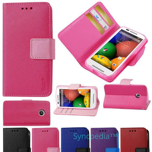 Pink Wallet Flip Case for Motorola Moto E 1st Gen - Leather Like Kickstand USA