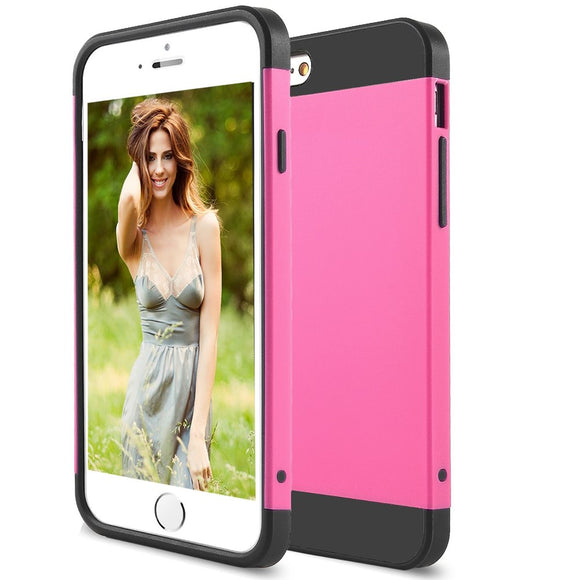 Pink and Black Case for Apple iPhone 6 & 6s - Rugged Classy Hard Hybrid Cover US