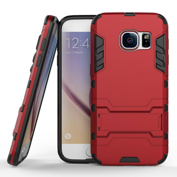 Red Kickstand Case for Samsung Galaxy S7 Edge - Heavy Duty Hybrid Hard Cover USA