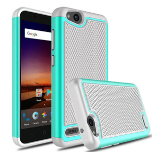 Green & Gray Hybrid Case for ZTE Tempo X N9137 - Rugged Hard Armor Cover USA