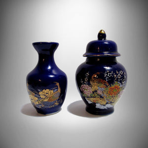 Asian Ginger Jar & Matching Bud Vase Vintage Asian Cobalt Blue PEACOCK FLORAL