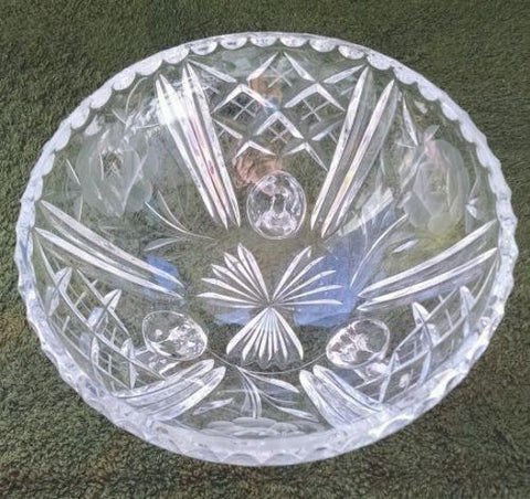 Pressed Glass 3 Footed Candy Dish Bowl Etched FLORAL & DIAMOND