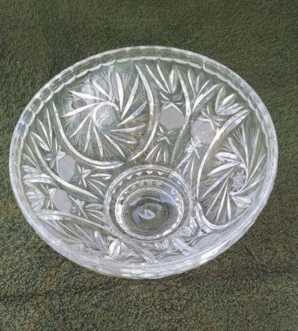 VINTAGE LEAD CUT GLASS SAWTOOTH FOOTED SERVING BOWL HOBSTAR PINWHEEL MINT