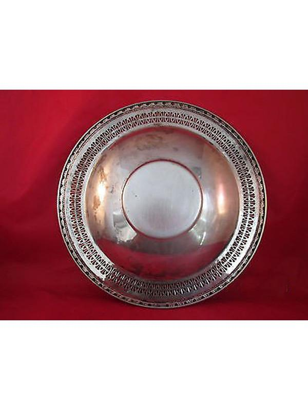 VINTAGE WM ROGERS #866 SILVERPLATE ROUND CHIP & DIP TRAY WITH CUP