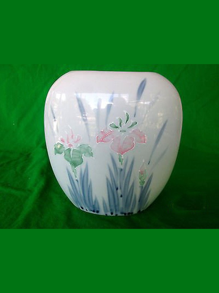 Floral Lite Large Oval Vase - Pink Iris' Handpainted Moriage Design - Made in Japan.
