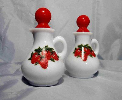 Avon Strawberries & Cream Bath Foam Decanters 1970's A Lot of 2 Vintage