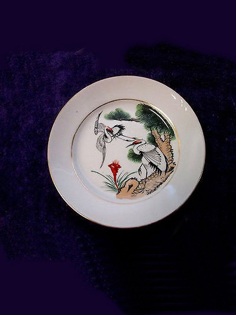 VINTAGE Artist Signed JAPANESE PORCELAIN WARE PLATE - DECORATED IN HONG KONG