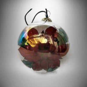 Christmas Ornament Poincettia & Holly Berries Glass Painted inside - Gramma-zon