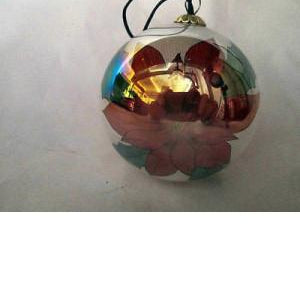 Vintage Poincettia & Holly Berries Glass Christmas Ornament Painted Inside
