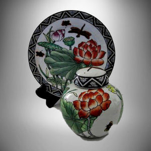 Asian Toyo Hand Painted Lotus & Dragonfly Ginger Jar w Stand & Matching Plate - Gramma-zon