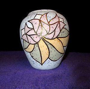 "True Folk Art Pottery ""Autumn Leaves"" Vase Pot Signed Marilyn 1992"