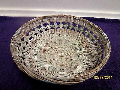1980's Key West Shabby Wicker Round Basket A MARKI ORIGINAL Beach Cottage Chic