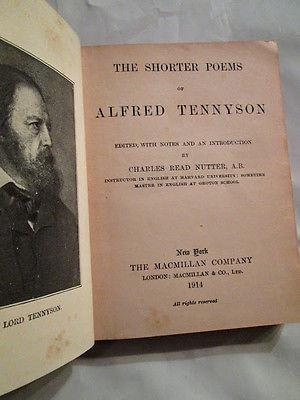 Tennyson's Shorter Poems Intro By Charles Nutter Alfred Lord Tennyson