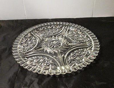 Anchor Hocking Thousand Line Stars and Bars Six Part Divided Platter