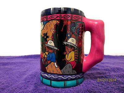 Vintage True Mexican Folk Art Stein Mug Hand Painted 'The Mountain Village'