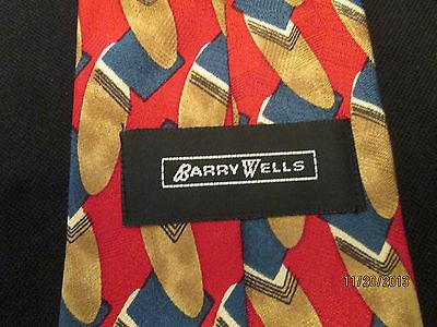 "Barry Wells 100% Silk Blue and Gold with Red Pattern Mens Neck Tie 56"" - Gramma-zon"