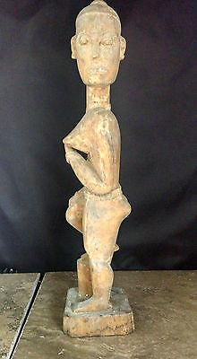 "African Tribal Art Congo Hand Carved Wood Fertility Goddess 18"" Mid-Century VTG"