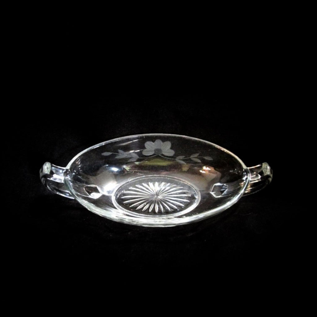Imperial Cut Glass Oval Relish Dish w Handles Floral & Starburst Design VTG - Gramma-zon