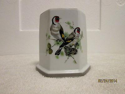"American Scene Collection Octagon Vase ""Goldfinch's in the Pines"" Birds Handmade"