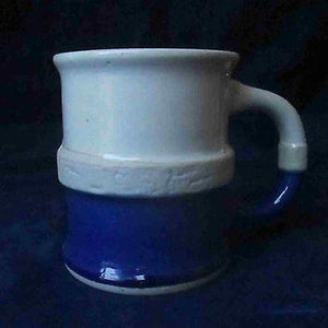 Studio Art Pottery SHAVING MUG Stoneware Beige Blue Glazed