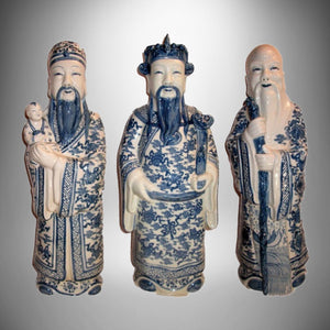 "Chinese Fujian Guild Blue White Porcelain Statues Three Lucky Gods Figurines 21"" - Gramma-zon"