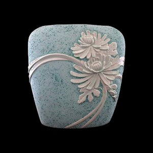 "Studio Art Pottery Vase ""Nina's Ceramics"" Oval ñ Aqua Green w High Relief Floral"
