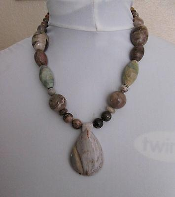 Artisan Cherry Creek Jasper Polished Faceted Sterling Necklace Large Vintage