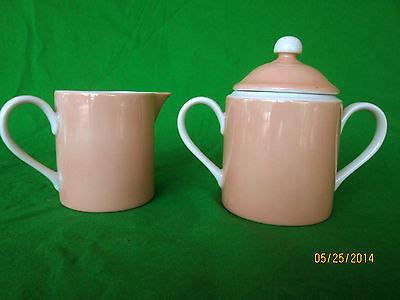 VINTAGE FITZ AND FLOYD - 1975 - RONDELET PEACH - SUGAR BOWL With LID & CREAMER