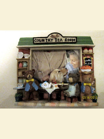 3D Bears Tea Party Photo Frame 'Garden Market' Tabletop Resin