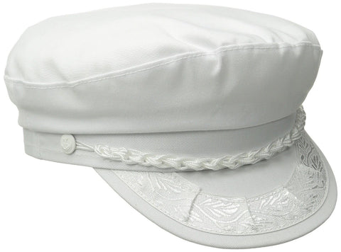 Aegean Sea Unisex Cotton Greek Fisherman's Cap Biker Cap White 7-3/8