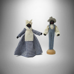 Folk Art Black African-American The Gardener & Maid Clothespin Dolls - Gramma-zon