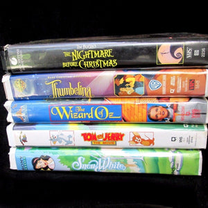5 Vintage Childrens VHS Tapes Snow White Tom & Jerry Wizard of Oz & More