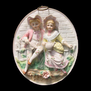 Arnart Creations Colonial Couple Vintage Hand Painted Bisque Wall Plaque - Gramma-zon