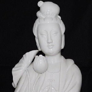 Chinese Blanc-de-chine Figure of Guanyin Lotus Flower Statue Impressed Mark 18""