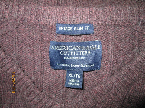 American Eagle Outfiters Men's V-Neck Sweater XL Chocolate Slim Fit