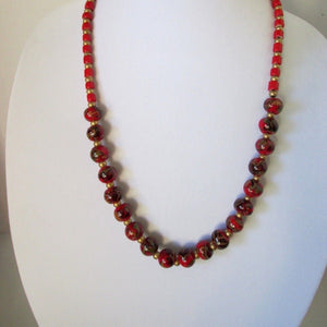 "25"" VINTAGE Chinese Handmade Red Porcelain Beaded Necklace"