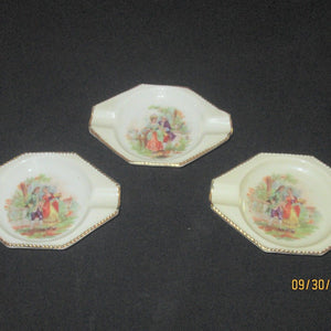 Bavaria Porcelain Individual Small Ashtray Colonial Scene Set of 3