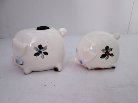Enesco Piggy Salt Pepper Shakers w Orig Paper Labels Mid Century Japan