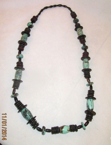 Antique-Chinese-Natural-Turquoise-Large-29 X 16-MM- Barrel Bead-Necklace