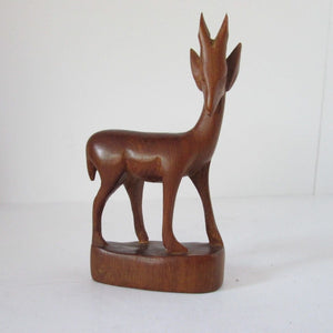 AFRICAN Deer Vintage Hand Carved Solid Wood Figurine Statue