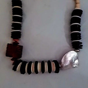 African Tribal Necklace Carved Wood Block, Beads & Mother of Pearl