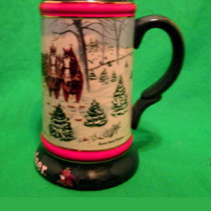 "Budweiser 1991 Christmas Beer Stein ""The Season's Best"" - A Susan Sampson Design"